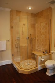 Frameless Glass Shower with Silver Hardware